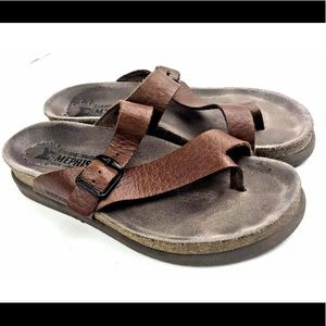 Mephisto Sandals Leather Brown Size 7